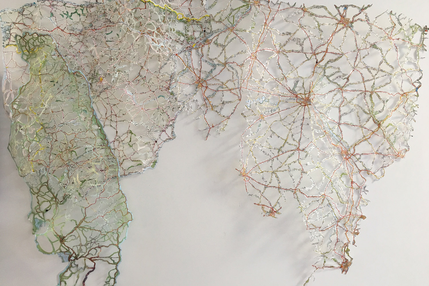 Rebecca DiDomenico, _Emanate:Jamaica, France, Spain_, 2016. Paper map, 48 x 36 x 4 inches.