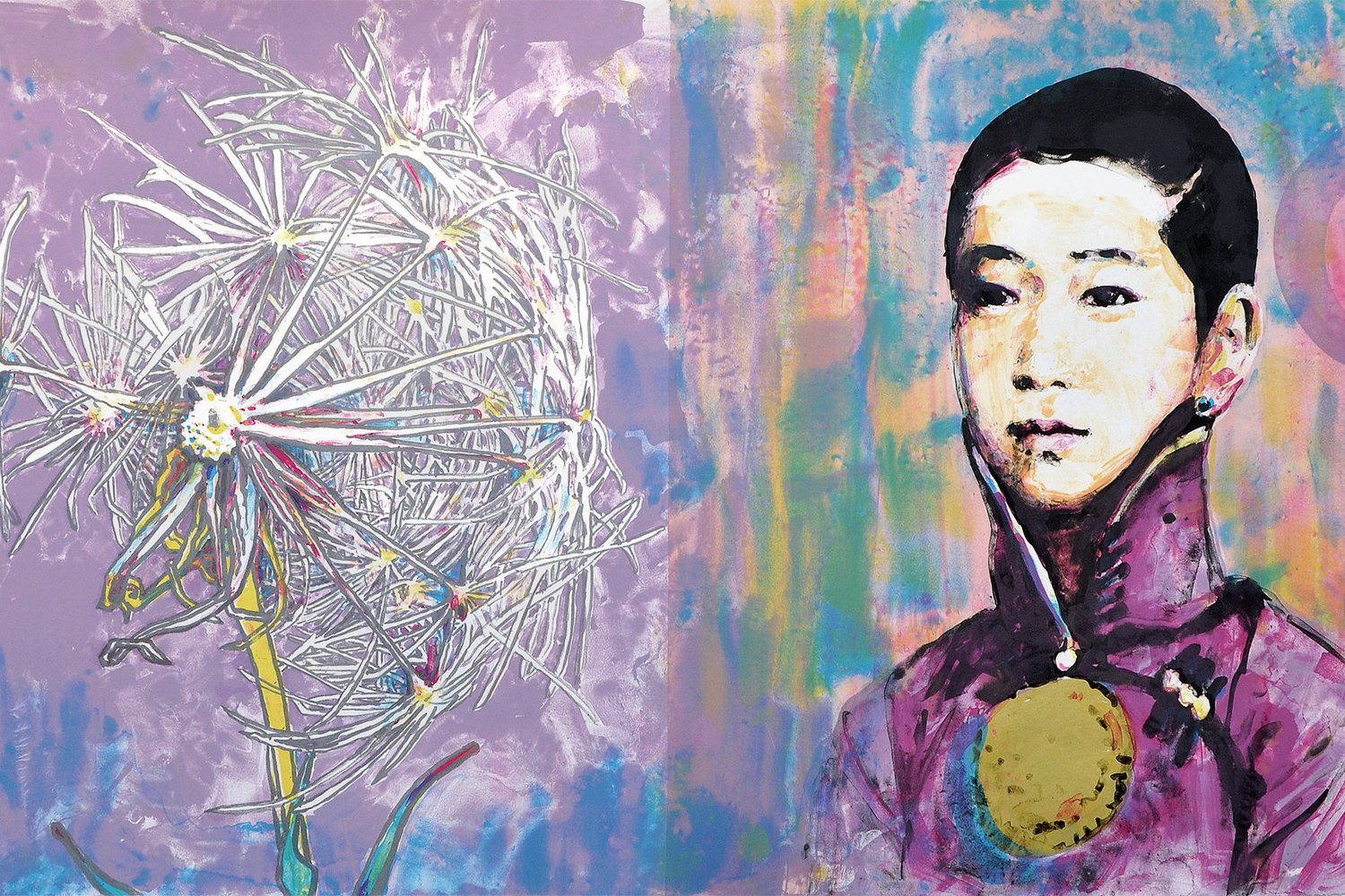 Hung Liu, Scattered Seed I, 2015. Color lithograph w/gold leaf, Patron Impression #4/4. Print dimensions: 22¼ x 44½ inches. $3,600 value, framed.