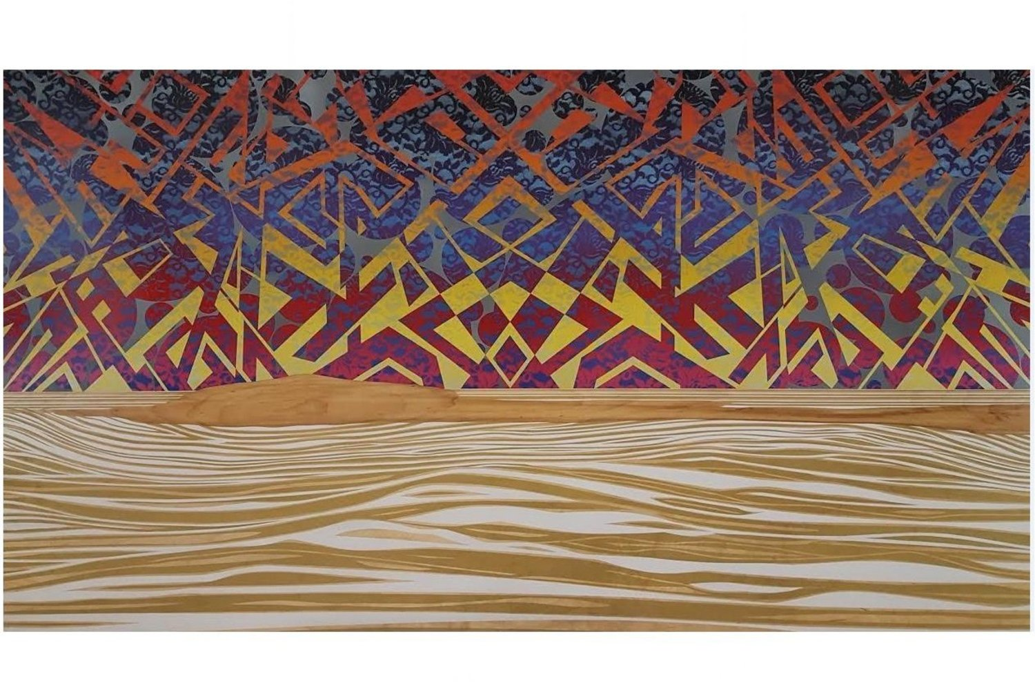 "Mark Bueno, _""From The Surface Of The Sublime Into The Deep Calm""_, Spray Paint on Wood Panel 72"" x 2"" x 40"""