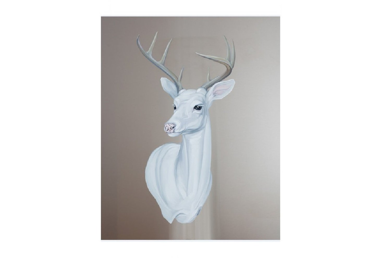 "Mai Wyn Schantz, _White Deer_, Oil on Stainless Steel 38""x30"""