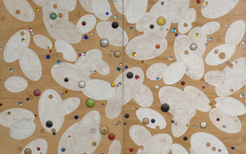 "John Torreano, ""Swarm"" (detail), 1990, enamel, wood balls and gems on 2 plywood panels. Courtesy of the artist."