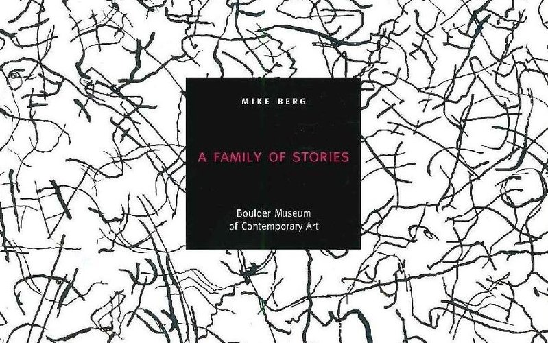 Mike Berg, _A Family of Stories Catalogue Cover_, Background work: _Like Jazz Music_, photo-etched copper, 13 5/8'' x 12 3/4'', 1998.