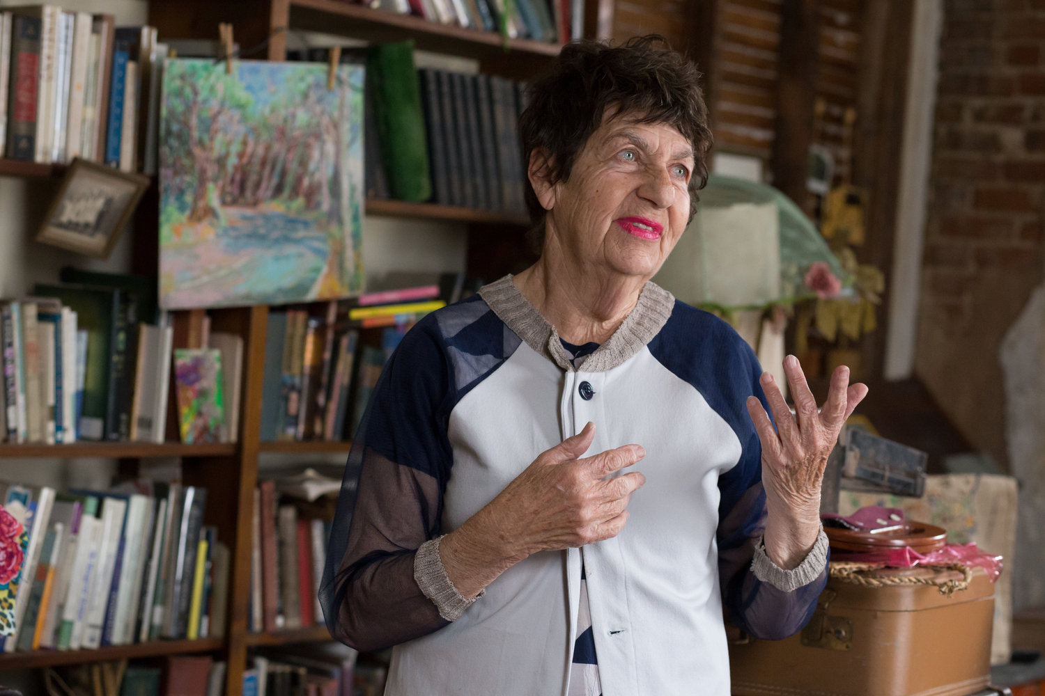 Susan Wick in her studio, photo by Sara Ford, courtesy Goldyn